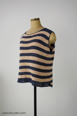 FUJI Top in  #382 Mix Navy & #399 Peach
