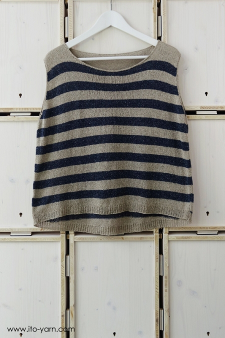 FUJI Top in  #398 Oatmeal & #382 Mix Navy