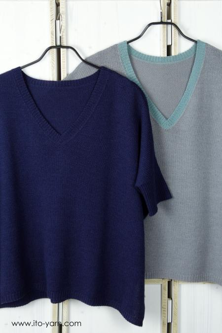 KITAMI Pullover Orient Blue, Aqua & Silver