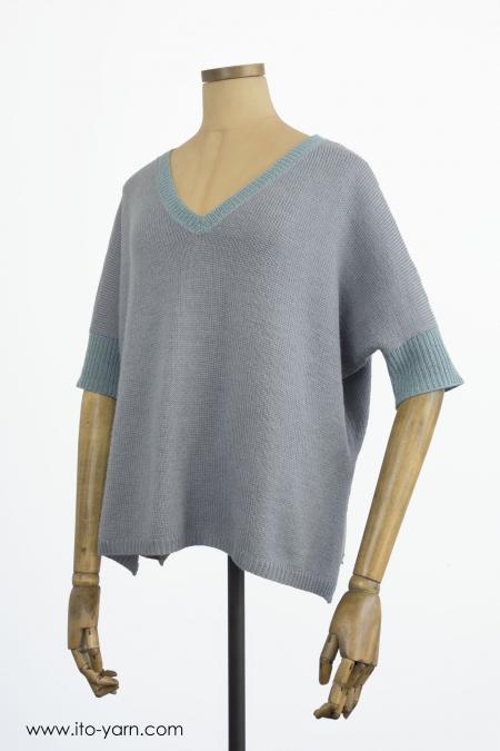 KITAMI Pullover Aqua & Silver